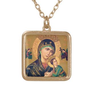 Vår dam av det eviga hjälphalsbandet guldpläterat halsband