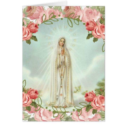 Vår dam av Fatima rosa ros Hälsningskort