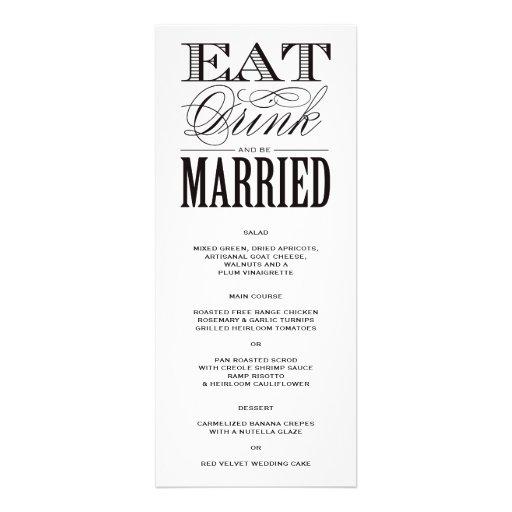Var den att gifta sig | menyn inbjudningar