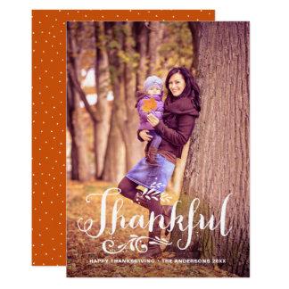 Var den tacksamma nyckfulla fotohappy thanksgiving 12,7 x 17,8 cm inbjudningskort