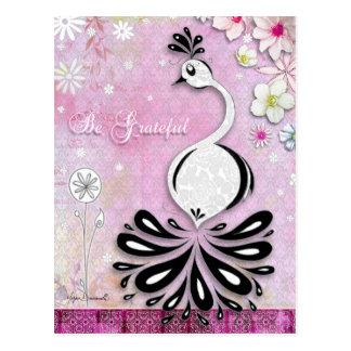 Var den tacksamma påfågelvykortet vykort