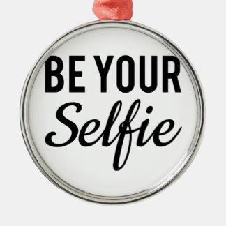 var din selfie, ordkonst, textdesignt-skjorta rund silverfärgad julgransprydnad