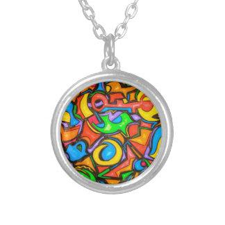 Var du gömmde godisen - abstrakt konst silverpläterat halsband