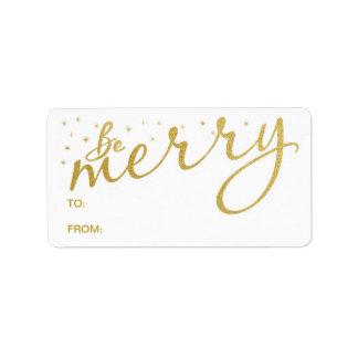 Var för gåvamärkre för glad guld- helgdag adressetikett