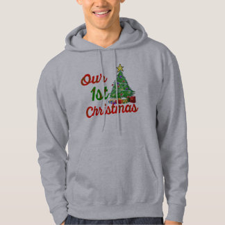 vår första design för hoodie för julgranfamiljgåva