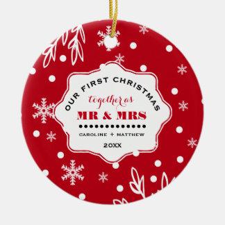 Vår första jul. Beställnings- fotoprydnadar Rund Julgransprydnad I Keramik