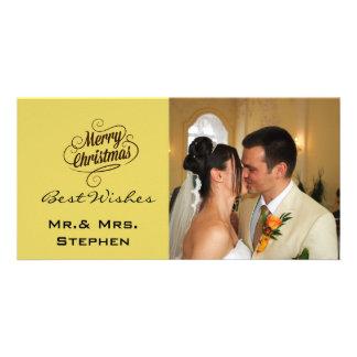 Vår första jul som gifta sig fotokort, gult fotokort