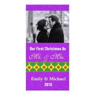 Vår första jul som gifta sig fotokort, lilor