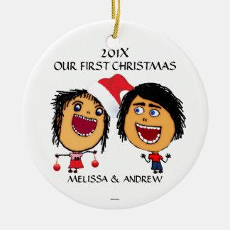 Vår första jultecknad julgransprydnad keramik