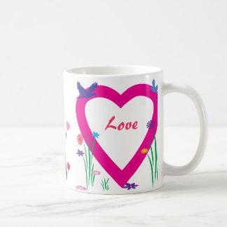 Vår, hjärtor och kärlek vit mugg