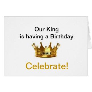 Vår kung har en födelsedag firar hälsningskort
