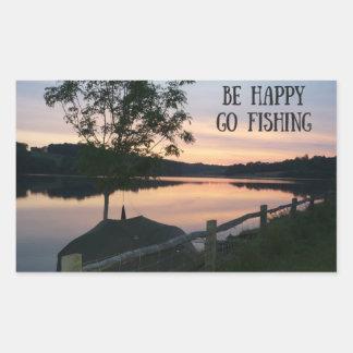 """""""Var lycklig går den fiska"""" klistermärken"""