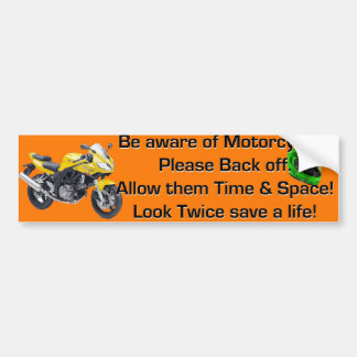 Var medveten av orange motorcyklar bildekal