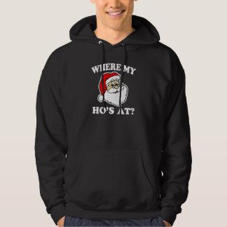 Var mitt hos på? rolig Santa jultröja Sweatshirt Med Luva