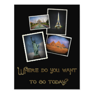 Var önskar du att gå? 10,8 x 14 cm inbjudningskort