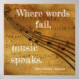 Var ordkuggning ** musik talar - konsttryck poster