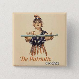 Var patriotisk: Virkningen - knäppas Standard Kanpp Fyrkantig 5.1 Cm