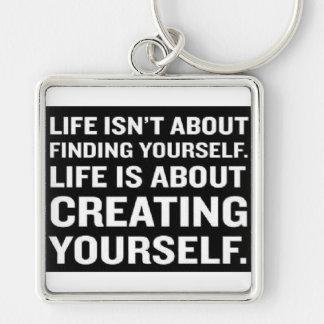 Var precis dig fyrkantig silverfärgad nyckelring