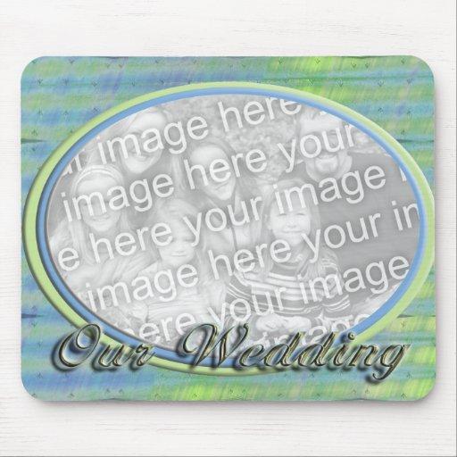 Vår ram för foto för bröllopblåttgult mus mattor