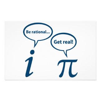 Var rationell får verklig imaginär Math Pi Brevpapper