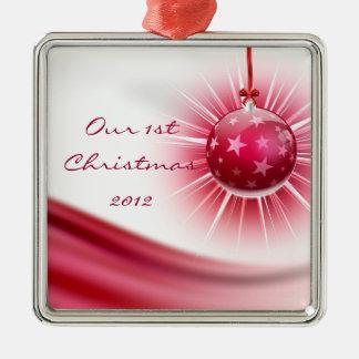 Vår röda bandprydnad för 1st jul julgransprydnad metall