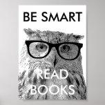 Var smart lästa bokar poster med det roliga ugglaf affischer