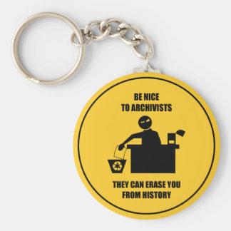 Var trevlig till arkivarier rund nyckelring