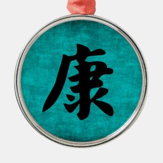 Vård- kinesisk teckenmålning i blått julgransprydnad metall