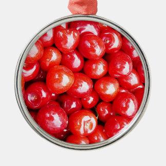 Vård- körsbärsröd frukt påminner sund rosa passion julgransprydnad metall