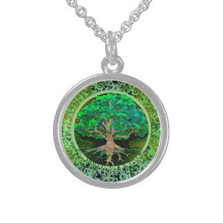 Vård- livets träd och välstånd sterling silver halsband
