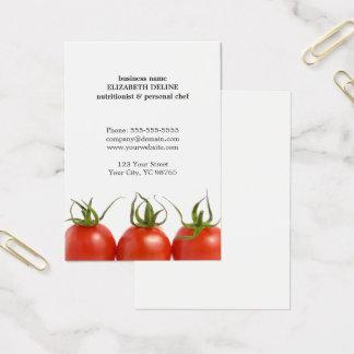 Vård- näringsfysiologkock för unik ren tomat visitkort