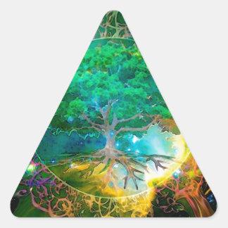 Vård- och vitalitetlivets träd triangelformat klistermärke