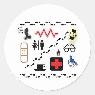 Vård- symboler runt klistermärke