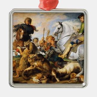 Vargen och räven jagar det Peter Paul Rubens Julgransprydnad Metall