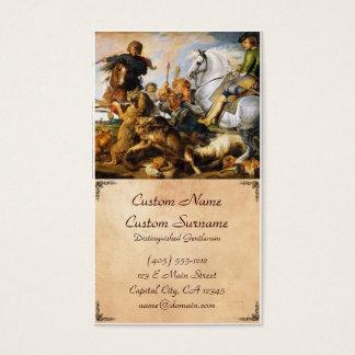 Vargen och räven jagar det Peter Paul Rubens Visitkort