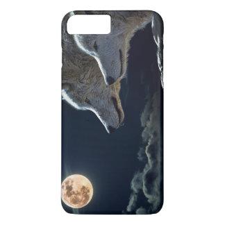 Vargvarger som tjuter på fullmånen på natten