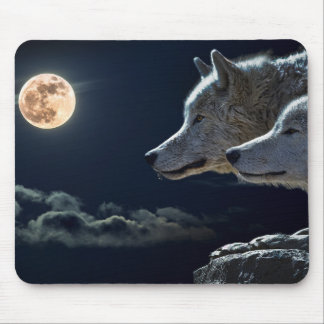 Vargvarger som tjuter på fullmånen på natten musmattor