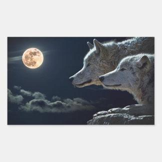 Vargvarger som tjuter på fullmånen på natten rektangulärt klistermärke