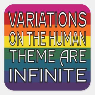Variationer på människatemat är oändliga fyrkantigt klistermärke