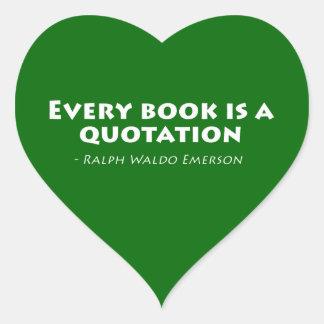 Varje bok är en Quotation Hjärtformat Klistermärke