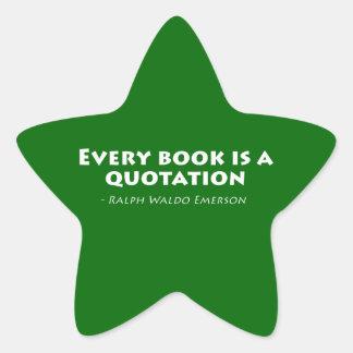 Varje bok är en Quotation Stjärnformat Klistermärke