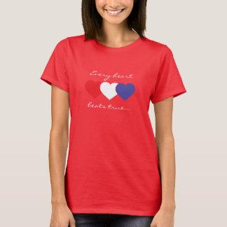 Varje hjärta slår riktiga röda vit- och t shirt