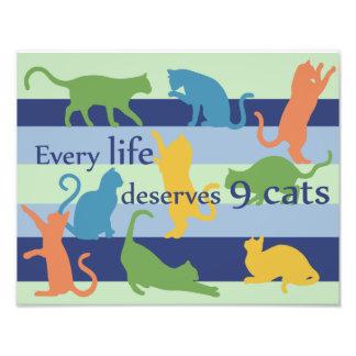 Varje liv förtjänar roligt kattcitationstecken för fototryck