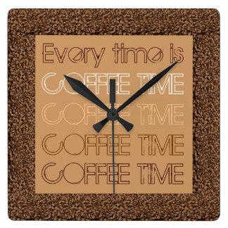 Varje Time är kaffe Time Fyrkantig Klocka