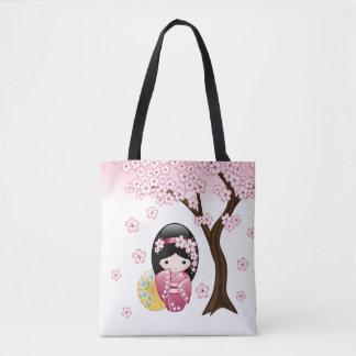 VårKokeshi docka - gullig japansk Geishaflicka Tygkasse