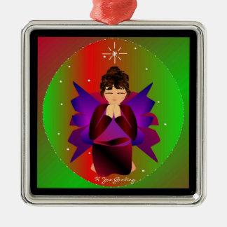 Värld runt för julängelbaby i svart dropp silverfärgad fyrkantigt julgransprydnad
