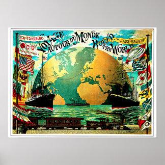 Värld runtresavintage resor poster