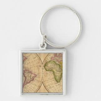 Värld vid Worcester Fyrkantig Silverfärgad Nyckelring