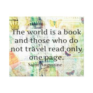 Världen är en bok reser citationstecken canvastryck