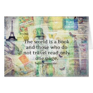 Världen är en bok reser citationstecken hälsningskort
